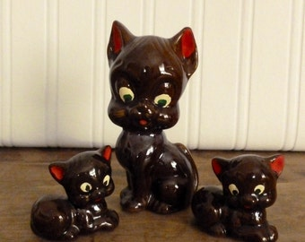 Vintage Redware Trio Cat Figurines - Brown Pottery Kitty Cats - Japan Kitty Statues