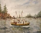 Fine Art Print of original watercolor landscape painting, 11x14 print, seascape, fishing boat painting, watercolor art, nautical art