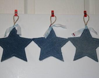 Denim Stars set of 3 Christmas ornaments banner decorations twine loop