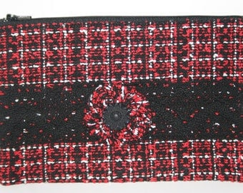 Clutch Red Black White Soft Material Black Lace, Yoyo with Black Flower Button black lining black zipper