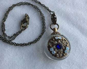 Vintage Inspired Crystal And Brass Perfume Bottle Necklace