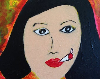 Kim - Orginal Mixed Media Portrait Female Smoker Red Teal Yellow Autism Art