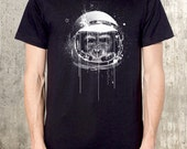 Monkey Astronaut - Urban Illustration- Men's Graphic Tee - American Apparel - All Sizes Available