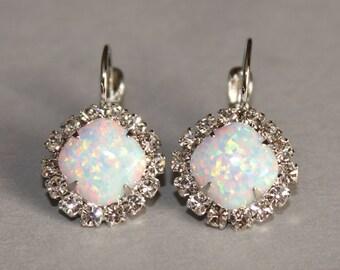 Australian Opal Rhinestone Halo Earring,Swaorovski Rhinestone & Lab Created Opal Earring,Bridal,Wedding,October Birthstone,Genuine Opal,Drop