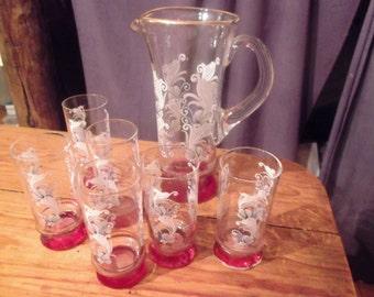VINTAGE glass PITCHER SET, 6 cordial glasses, Port, sherry, wedding, Portuguese vintage
