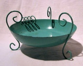 Vintage Mid Century Turquoise Metal Ashtray Footed Bowl Curly-Q Handles 6 inches Round Atomic Age Dish Kitsch Decor