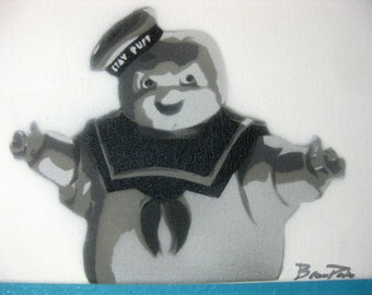 Stay Puft Original Multi-Layer Stencil Painting on Canvas ~ 8x10 by Beau Pope ~ Ghostbusters 1980s