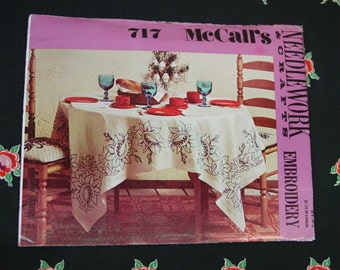 Vintage McCall's Pattern No.717 c.1974 Needlework Embroidery, Pomegranate Tablecloth