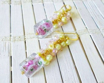Pastel Beaded Cluster Dangle Earrings, Watercolor Roses, Pink & Green