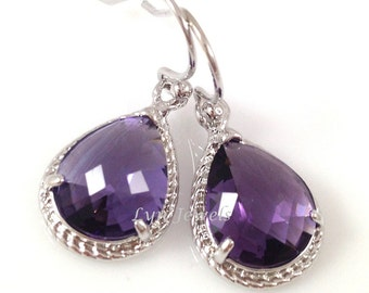 Violet Teardrop Earrings - Silver Amethyst Bridesmaids Prom Wedding Christmas Earrings - February Birthstone Earrings