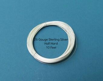 10 Feet 26 gauge Sterling Silver Wire - Round, Half Hard