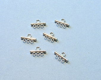 Sterling Silver 3 Strand End Bars - 3 Pairs - 6 Pieces