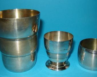 aNTIQUE vINTAGE tRAVELING Set NAPKIN RING 2 CUPS mARKED Art Deco