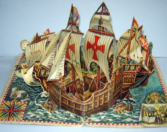 Old ANTIQUE 1960 Pop-up BOOK Christopher Columbus Ship Santa Maria Pinta KUBASTA