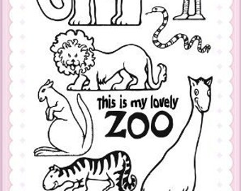 "My Lovely Zoo // Clear stamps pack (4""x7"") FLONZ"