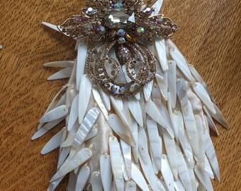 Handmade wedding purse shell bangles with stunning brooch decoration