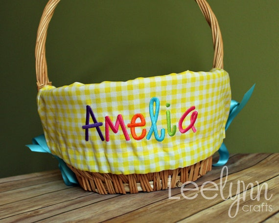 Personalized Easter Basket Liner Yellow Gingham Plaid