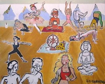 "Yoga Class Robert E. Richards Original Art Oil Painting on canvas 16"" X 20"""