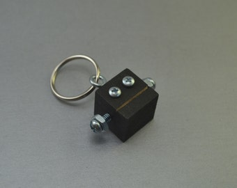 Black Robot Key Chain, Zipper pull, Functional Art, Back to School