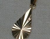 Vintage Pendant: Soviet 583 Rose Gold Teardrop, Pear. Shimmery Diamond Cut