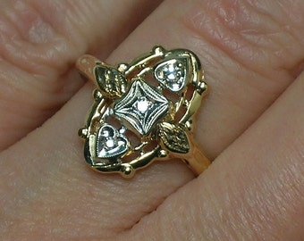 Diamond Trilogy Ring, Vintage 1940s, Yellow & White Gold, Two Tone, Navette. Great Gift