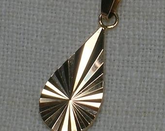 Pendant: Soviet 583 Rose Gold Teardrop, Pear. Shimmery Diamond Cut. Riga Latvia