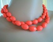 1950s FAB Gorgeous Orange Faceted Plastic Necklace Double strand adjustable Choker Fifties Hip Sock Hop Drive in Movies Diner Hot Vintage