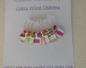 Autumn Wine Charms - Happy Birthday Wine Charm - Orange, Fushia, Avocado, Brown - Set of Six - Glass Wine Charms Made by Pillowscape Designs
