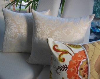 Orange Pillow - Sunset Dreams Pillow - Cream Ivory Pillows - Two 20 x 20 Inch Three 15 x 15 Inch -  Sunset Orange, Cream, Sunshine Yellow