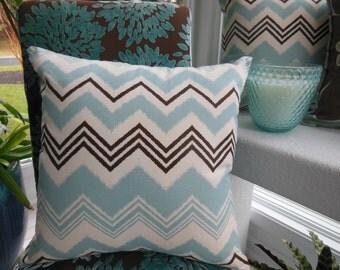 Chevron Pillow - Blue Pillow - Brown Pillow - Duck Egg Blue and Bark Brown Design Pillow - Reversible 18 x 18 Inch - Pillow Insert Included
