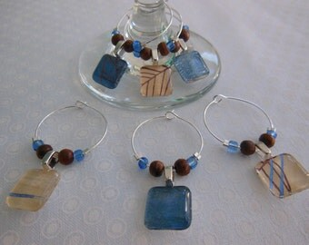 OOAK  Wood and Water Wine Charms - Blue and Brown - Set of Six - Glass Wine Charms - Hostess Gift - House Warming Gift - Entertaining