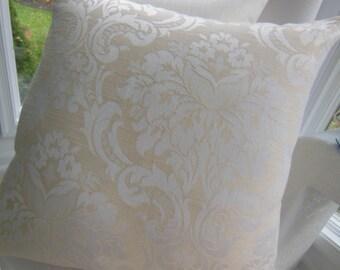Large Damask Ivory Designer Pillow - Damask Ivory Creme Decorative Pillow - 20 x 20 Inch Reversible Pillow - Linen Home Decor Fabric