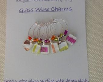 Glass Wine Charms - Happy Birthday Wine Charm - Orange, Fushia, Avocado, Brown - Set of Six - Glass Wine Charms Made by Pillowscape Designs