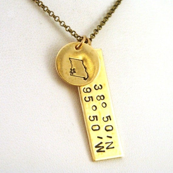 GPS Coordinates Necklace With Latitude Longitude And Missouri