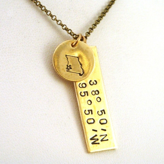 Gps Coordinates Necklace: GPS Coordinates Necklace With Latitude Longitude And Missouri