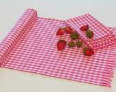 Pink Table Runner, Gingham Table Runner, Dining Room Decor