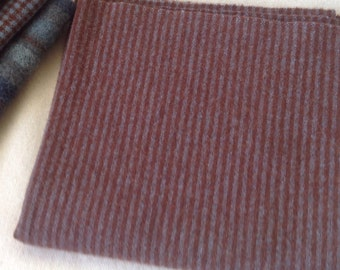 Wool fabric for rug hooking and appliqué, Brown and Blue Stripe, Select a Size, J894