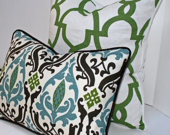 "Monarch Trellis/Meadow - Trellis Print - 1 Decorative Pillow Cover- 100% Linen - 18"" - Lattice - Green - White"