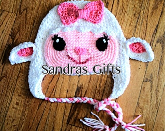 Crochet ballerina lamb hat with earflaps and braided tassels