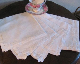 Set of 6 Vintage Solid Ivory Damask Linen Cotton Napkins 17 x 17 Sqaure