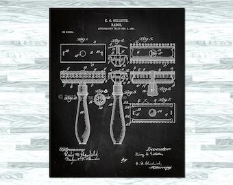Bathroom Decor: Fine Art Print Featuring 1904 Razor Patent - Man Deocr, For Men, Patent Print, Home Decor, Wall Art, Retro Decor