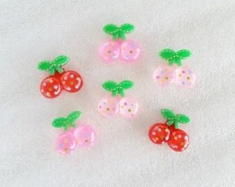 6pcs - Glittery Cherry Flatback Mix Decoden Cabochon (18mm) FR10002