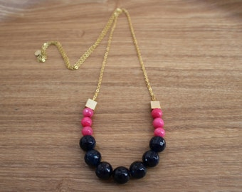 Long colourblock necklace - Hot pink and midnight blue gold necklace