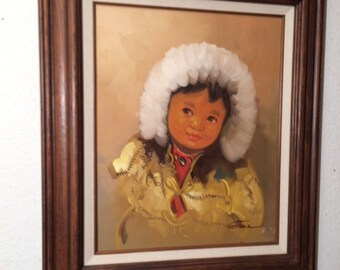 Vintage Eskimo Indian Child Oil Painting by Stone Signed Art Framed Beautiful