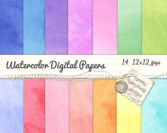 Digital Watercolor Paper in Rainbow colors watercolour backgrounds for invitations, scrapbooks, handmade cards, weddings, photocards