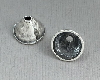 Sterling Silver Artisan Rimmed Bead Cap No. B122ss