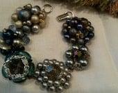 Something old and blue vintage cluster beaded earring bracelet wedding bridesmaid