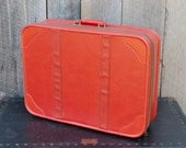 Vintage Red Suitcase Soft Sided Vinyl Black Interior Allegro Travel Stackable Storage Photo Prop Wedding Reception 1960's