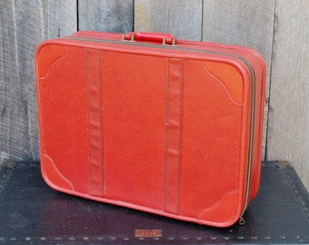 Vintage Red Suitcase Soft Sided Vinyl Black Interior Allegro Travel Stackable Storage Photo Prop Wedding Reception 1960's