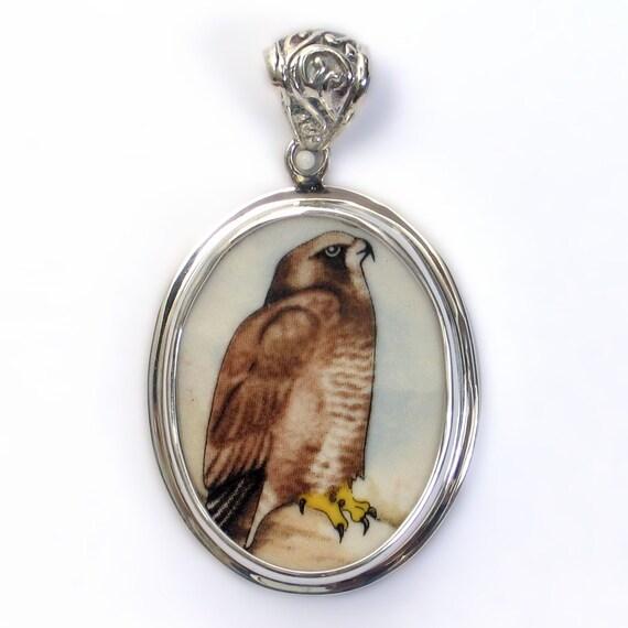 Broken China Jewelry Wedgwood Birds of Prey Buzzard Hawk Sterling Pendant